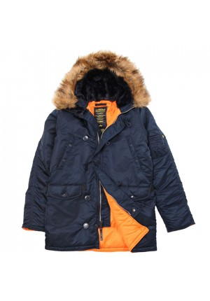 Куртка Slim Fit N-3B Parka Color: Blue/Orange